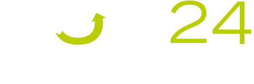 Logo Non-24 - ein weißer und hellgrüner Schriftzug auf dunkelgrünem Hintergrund