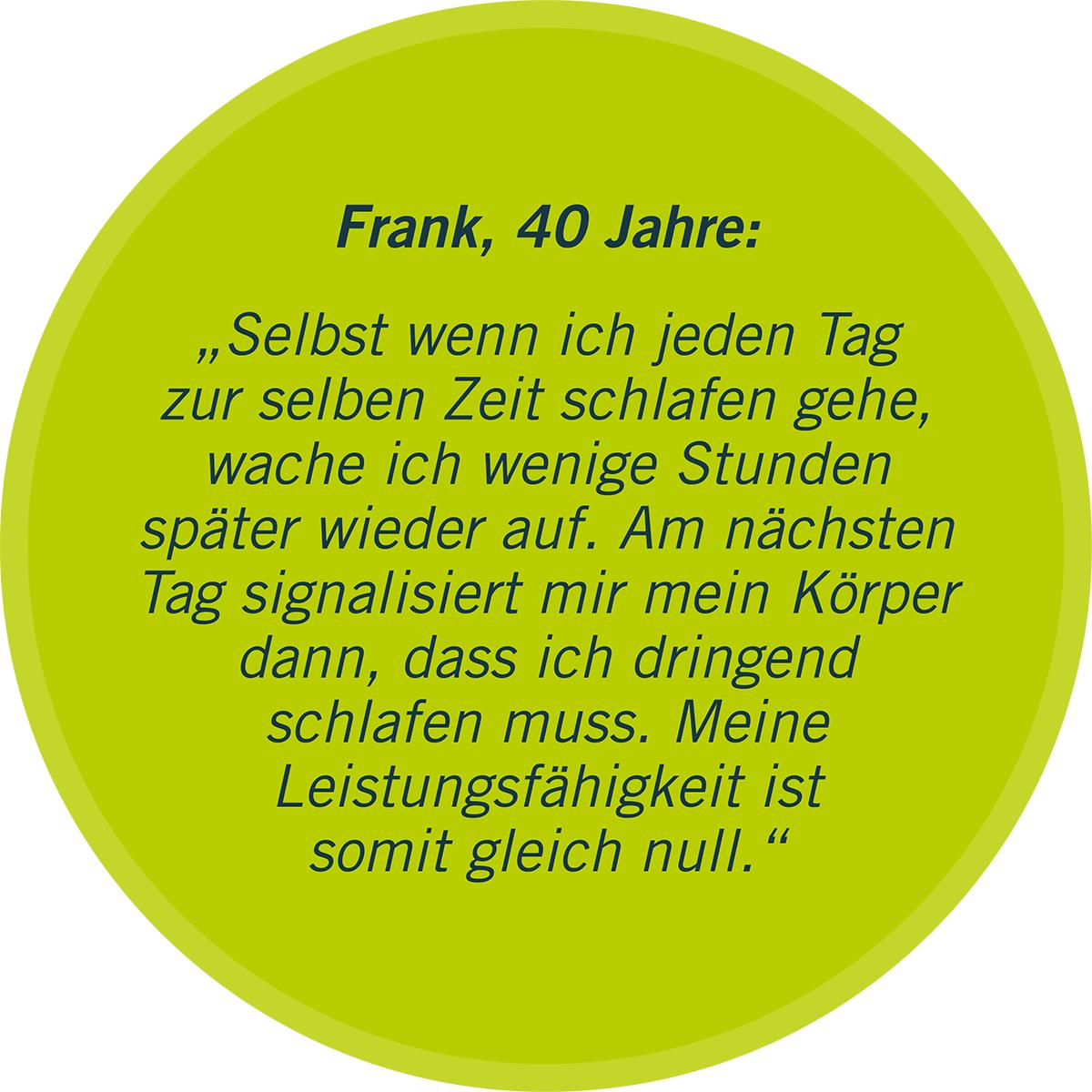 """Zu sehen ist in einer grünen Sprechblase ein Statement von Frank, 40 Jahre, zu seiner Erfahrung mit der Krankheit Non-24: """"Selbst wenn ich jeden Tag zur selben Zeit schlafen gehe, wache ich wenige Stunden später wieder auf. Amnächsten Tag signalisiert mir mein Körper dann, dass ich dringend schlafen muss. Meine Leistungsfähigkeit ist somit gleich null."""""""
